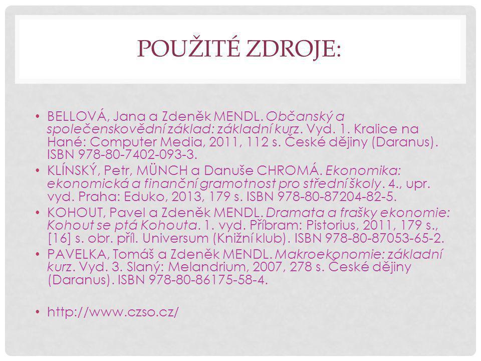 POUŽITÉ ZDROJE: BELLOVÁ, Jana a Zdeněk MENDL.Občanský a společenskovědní základ: základní kurz.