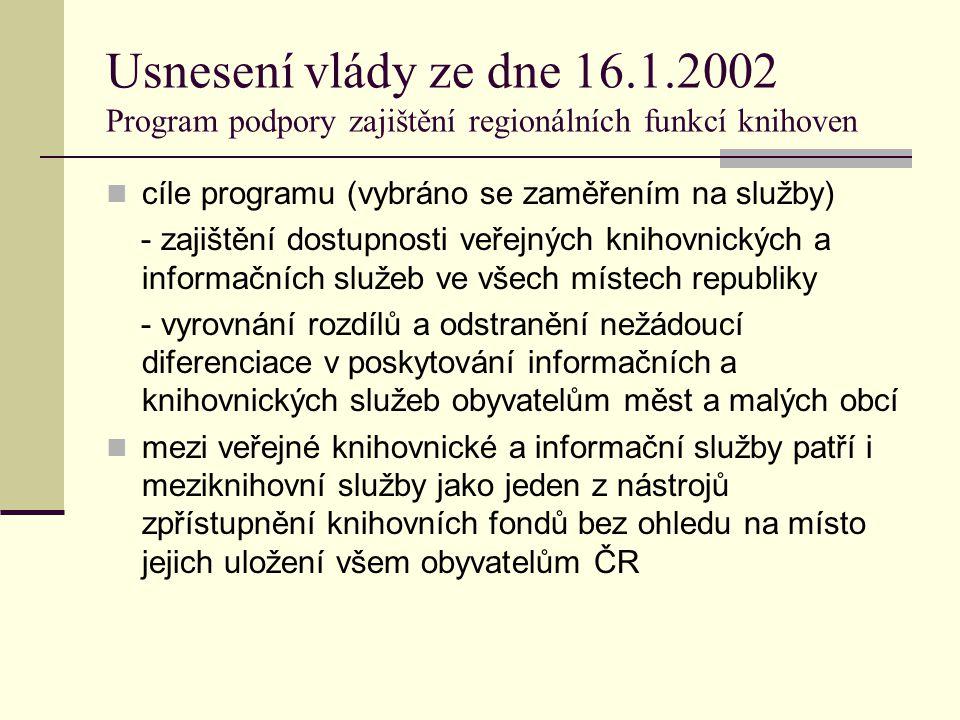 Usnesení vlády ze dne 16.1.2002 Program podpory zajištění regionálních funkcí knihoven cíle programu (vybráno se zaměřením na služby) - zajištění dostupnosti veřejných knihovnických a informačních služeb ve všech místech republiky - vyrovnání rozdílů a odstranění nežádoucí diferenciace v poskytování informačních a knihovnických služeb obyvatelům měst a malých obcí mezi veřejné knihovnické a informační služby patří i meziknihovní služby jako jeden z nástrojů zpřístupnění knihovních fondů bez ohledu na místo jejich uložení všem obyvatelům ČR