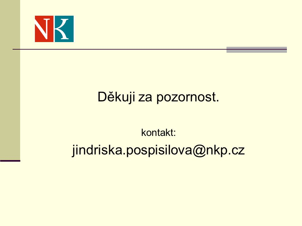 Děkuji za pozornost. kontakt: jindriska.pospisilova@nkp.cz