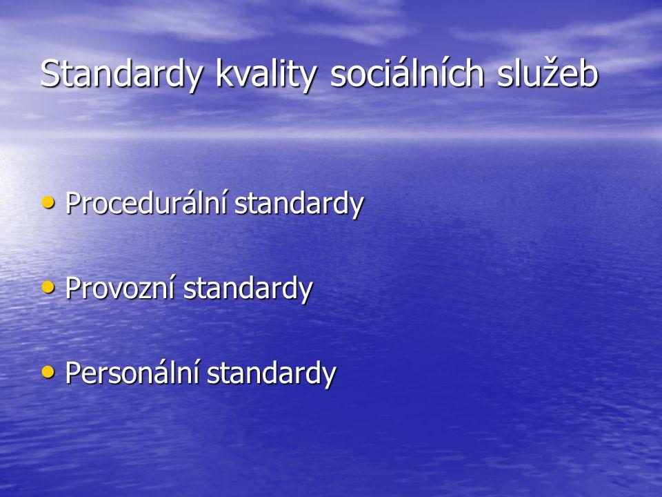 Standardy kvality sociálních služeb Procedurální standardy Procedurální standardy Provozní standardy Provozní standardy Personální standardy Personáln