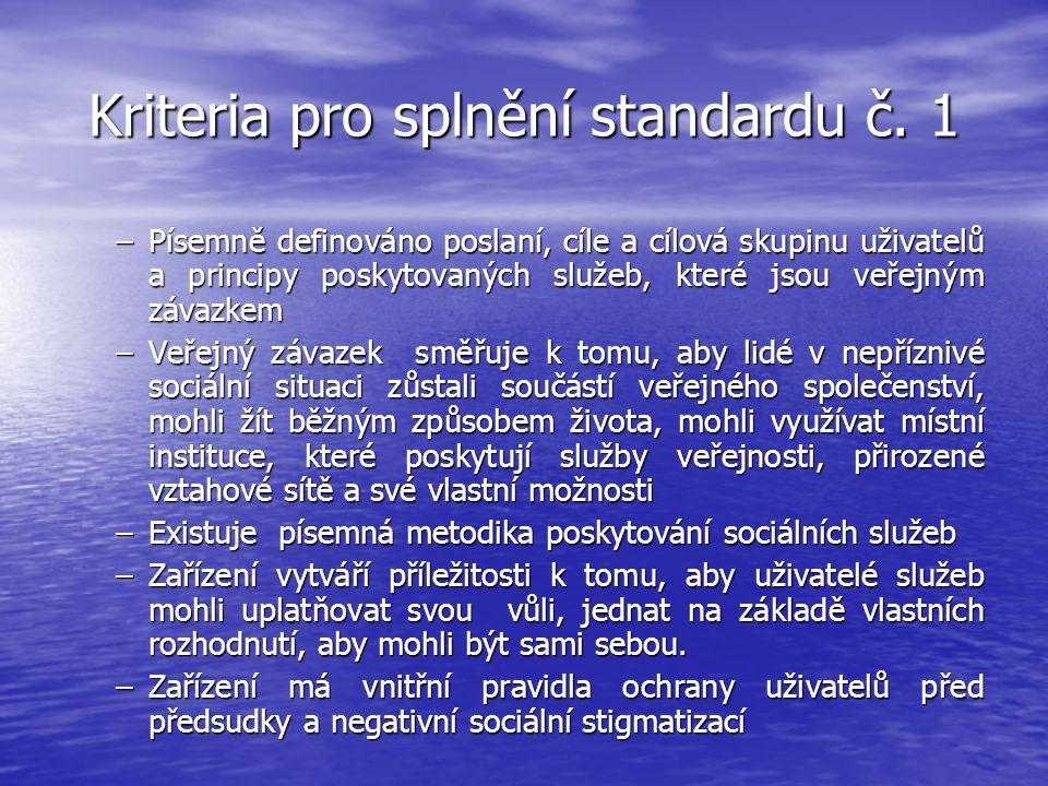 Kriteria pro splnění standardu č. 1 –Písemně definováno poslaní, cíle a cílová skupinu uživatelů a principy poskytovaných služeb, které jsou veřejným