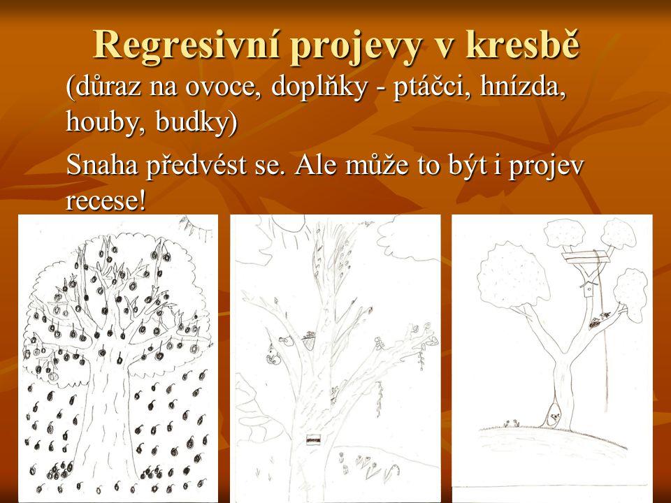 Regresivní projevy v kresbě (důraz na ovoce, doplňky - ptáčci, hnízda, houby, budky) Snaha předvést se. Ale může to být i projev recese!