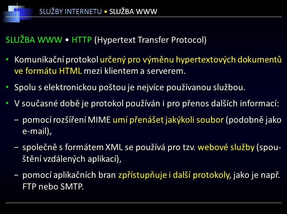 SLUŽBA WWW HTTP (Hypertext Transfer Protocol) Komunikační protokol určený pro výměnu hypertextových dokumentů ve formátu HTML mezi klientem a serverem