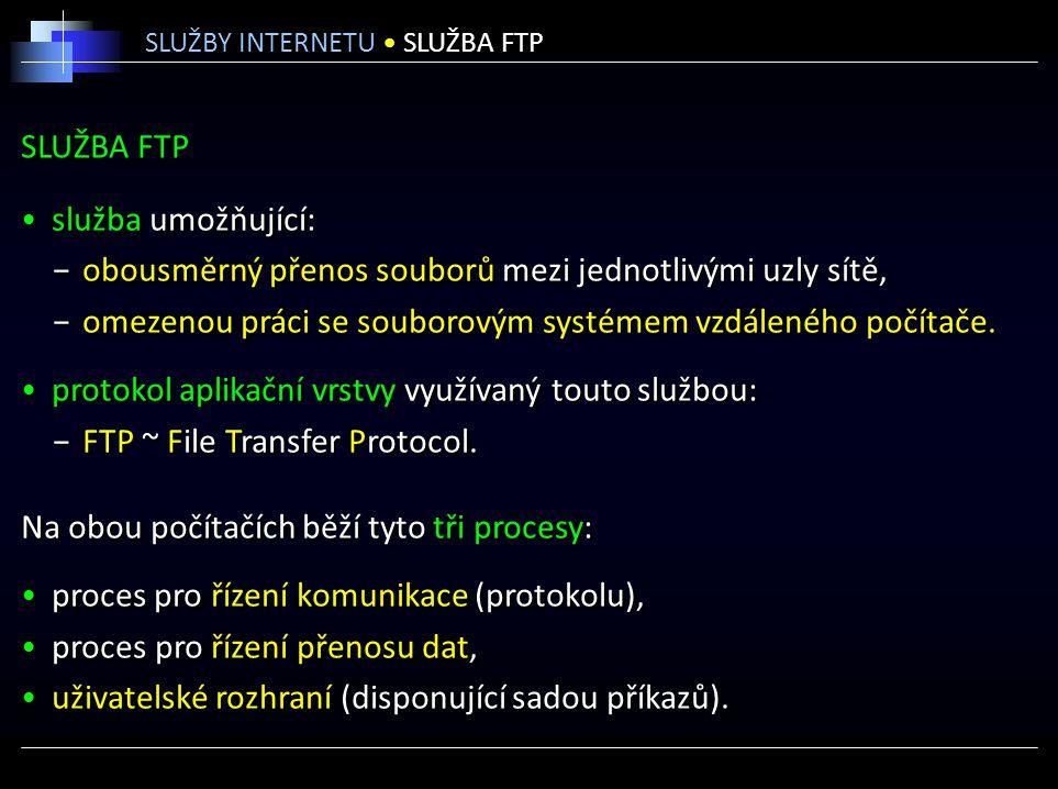 SLUŽBA FTP služba umožňující: −obousměrný přenos souborů mezi jednotlivými uzly sítě, −omezenou práci se souborovým systémem vzdáleného počítače. prot