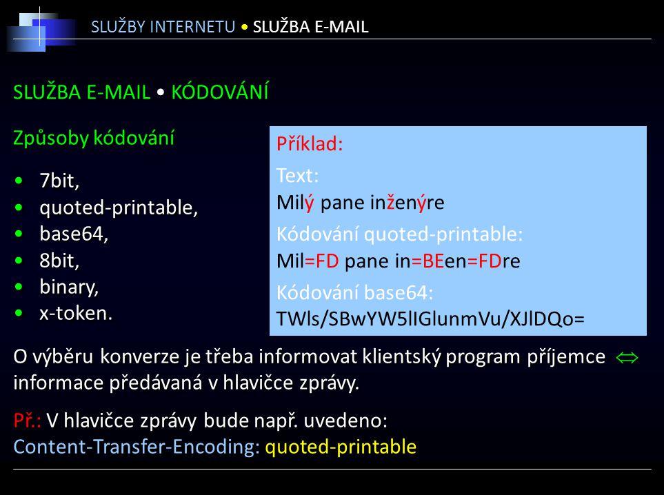 SLUŽBA E-MAIL KÓDOVÁNÍ Způsoby kódování 7bit, quoted-printable, base64, 8bit, binary, x-token. O výběru konverze je třeba informovat klientský program
