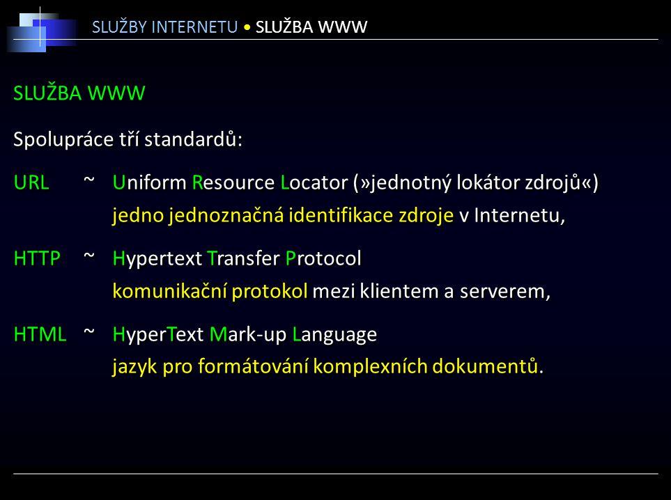 SLUŽBA WWW Spolupráce tří standardů: URL ~Uniform Resource Locator (»jednotný lokátor zdrojů«) jedno jednoznačná identifikace zdroje v Internetu, HTTP