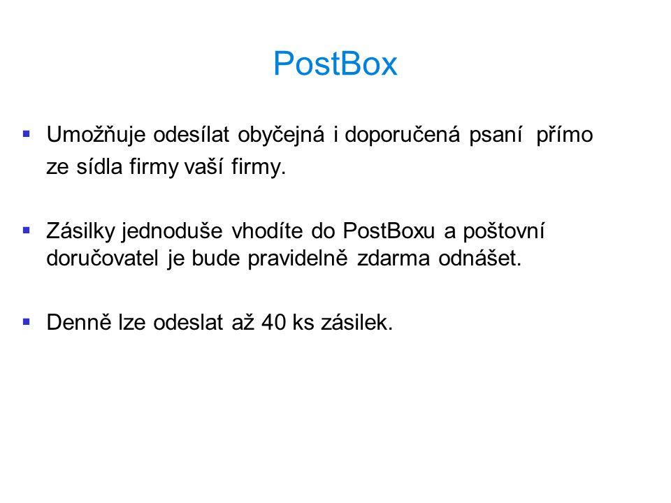 PostBox   Umožňuje odesílat obyčejná i doporučená psaní přímo ze sídla firmy vaší firmy.