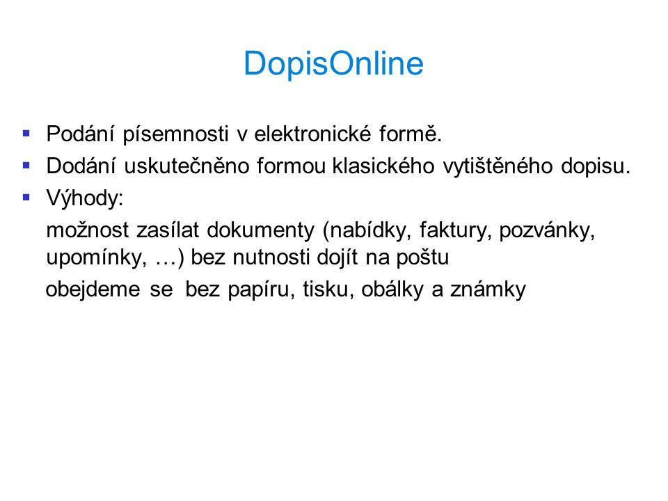 DopisOnline   Podání písemnosti v elektronické formě.