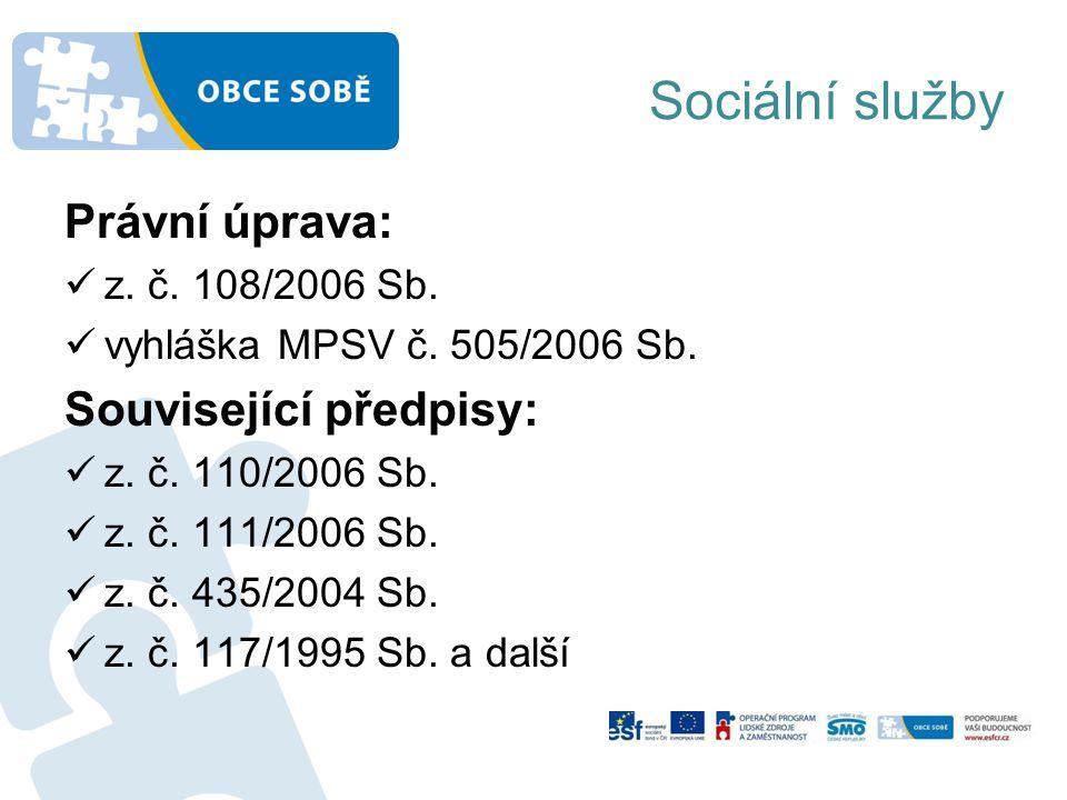Sociální služby Právní úprava: z.č. 108/2006 Sb. vyhláška MPSV č.