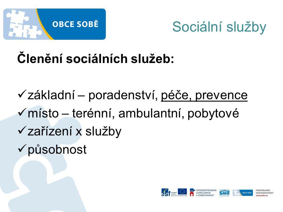 Sociální služby Členění sociálních služeb: základní – poradenství, péče, prevence místo – terénní, ambulantní, pobytové zařízení x služby působnost