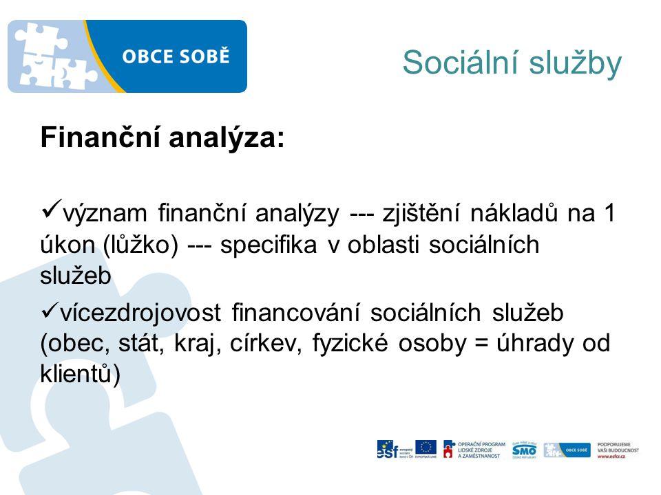 Sociální služby Finanční analýza: význam finanční analýzy --- zjištění nákladů na 1 úkon (lůžko) --- specifika v oblasti sociálních služeb vícezdrojovost financování sociálních služeb (obec, stát, kraj, církev, fyzické osoby = úhrady od klientů)