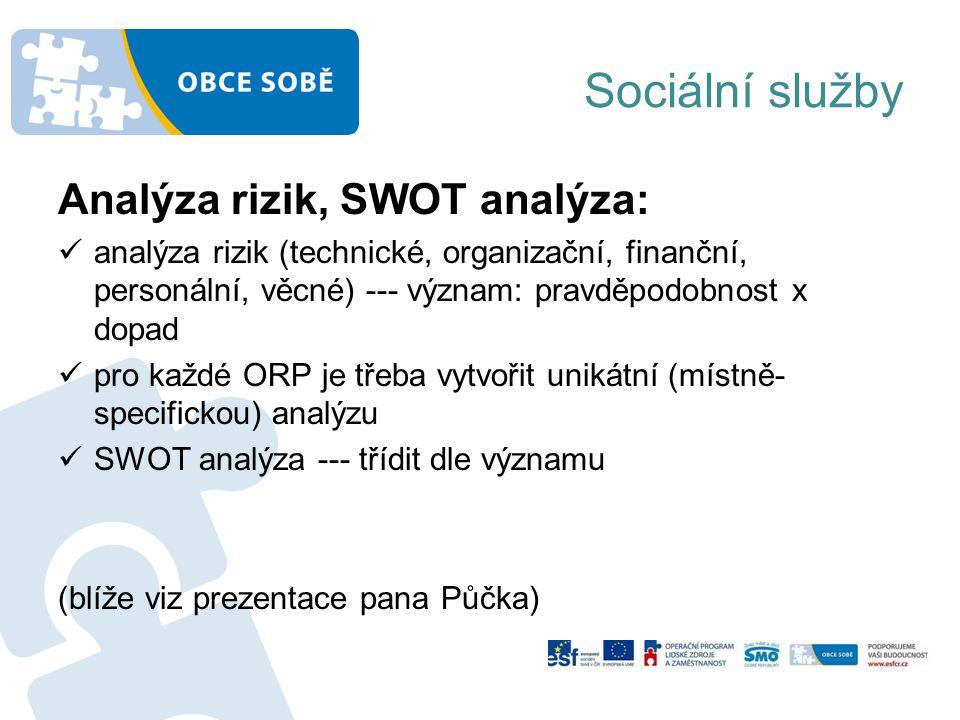 Sociální služby Analýza rizik, SWOT analýza: analýza rizik (technické, organizační, finanční, personální, věcné) --- význam: pravděpodobnost x dopad pro každé ORP je třeba vytvořit unikátní (místně- specifickou) analýzu SWOT analýza --- třídit dle významu (blíže viz prezentace pana Půčka)