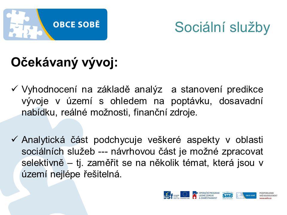 Sociální služby Očekávaný vývoj: Vyhodnocení na základě analýz a stanovení predikce vývoje v území s ohledem na poptávku, dosavadní nabídku, reálné možnosti, finanční zdroje.