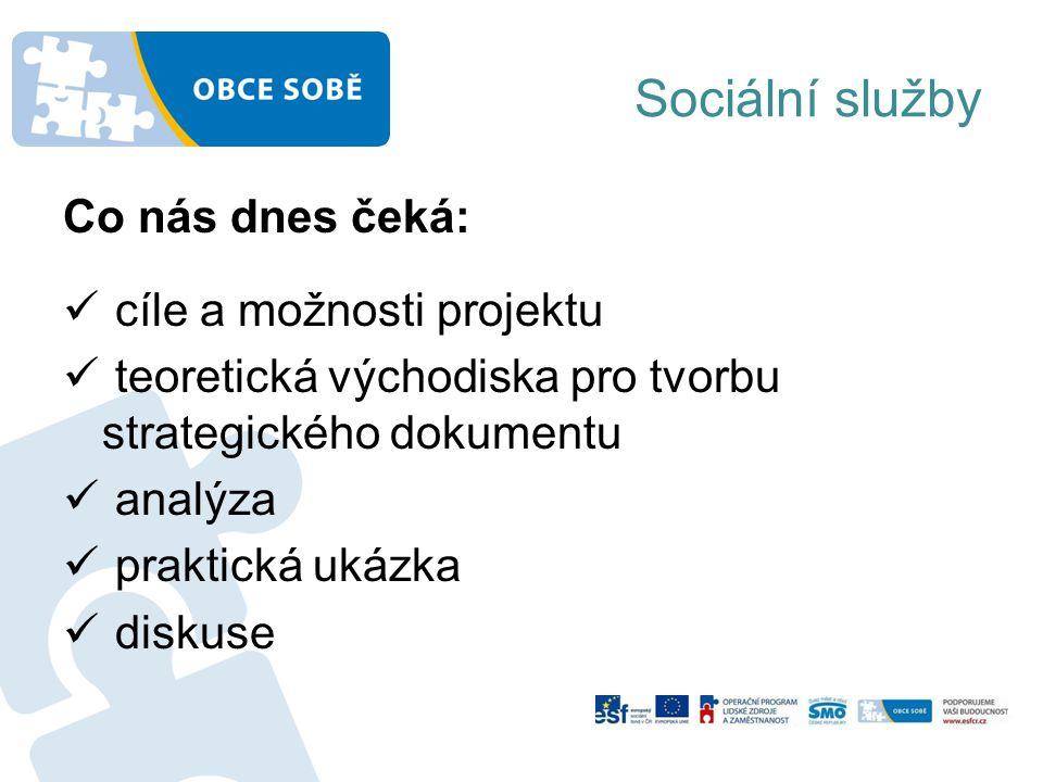 Sociální služby Co nás dnes čeká: cíle a možnosti projektu teoretická východiska pro tvorbu strategického dokumentu analýza praktická ukázka diskuse