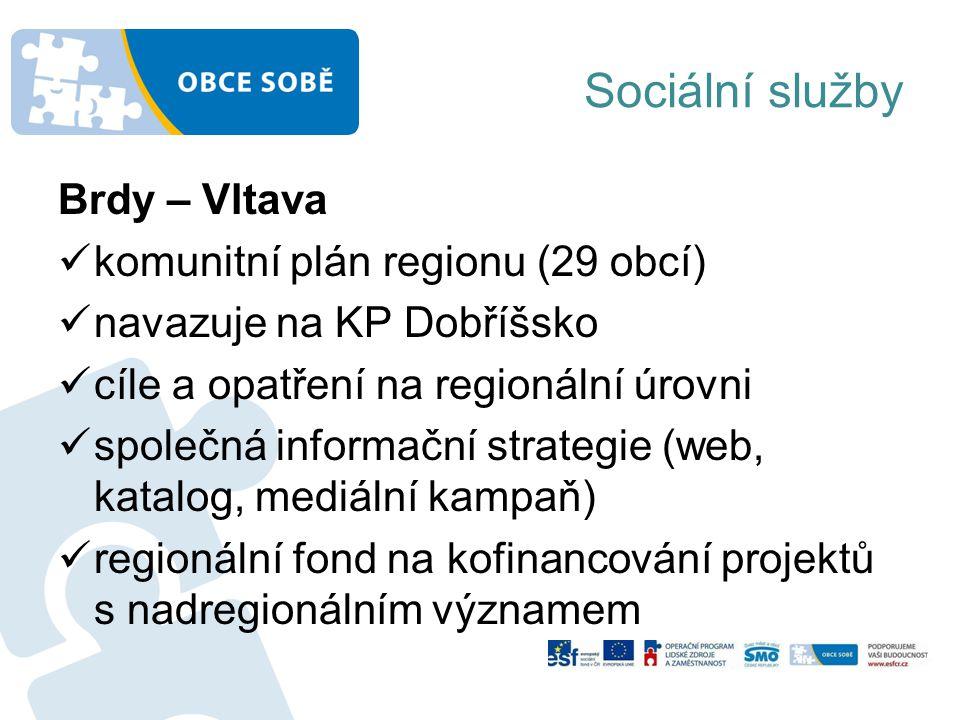 Sociální služby Brdy – Vltava komunitní plán regionu (29 obcí) navazuje na KP Dobříšsko cíle a opatření na regionální úrovni společná informační strategie (web, katalog, mediální kampaň) regionální fond na kofinancování projektů s nadregionálním významem