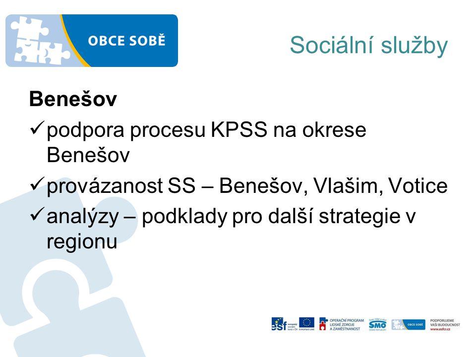 Sociální služby Benešov podpora procesu KPSS na okrese Benešov provázanost SS – Benešov, Vlašim, Votice analýzy – podklady pro další strategie v regionu