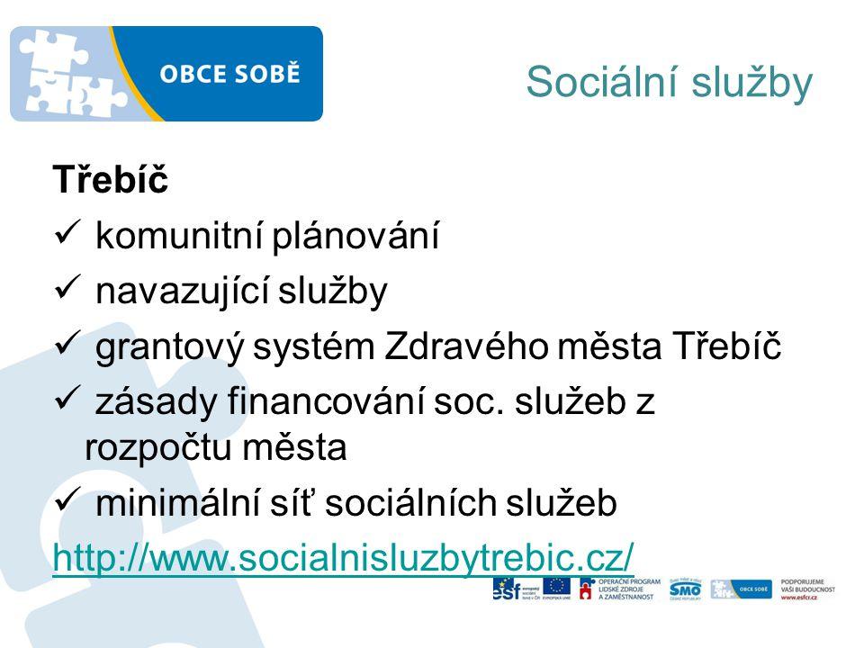 Sociální služby Třebíč komunitní plánování navazující služby grantový systém Zdravého města Třebíč zásady financování soc.