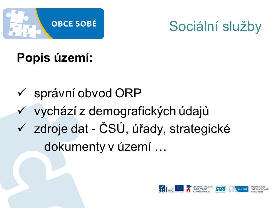 Sociální služby Popis území: správní obvod ORP vychází z demografických údajů zdroje dat - ČSÚ, úřady, strategické dokumenty v území …