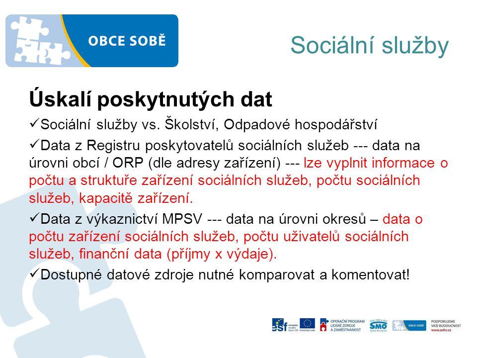Sociální služby Úskalí poskytnutých dat Sociální služby vs.