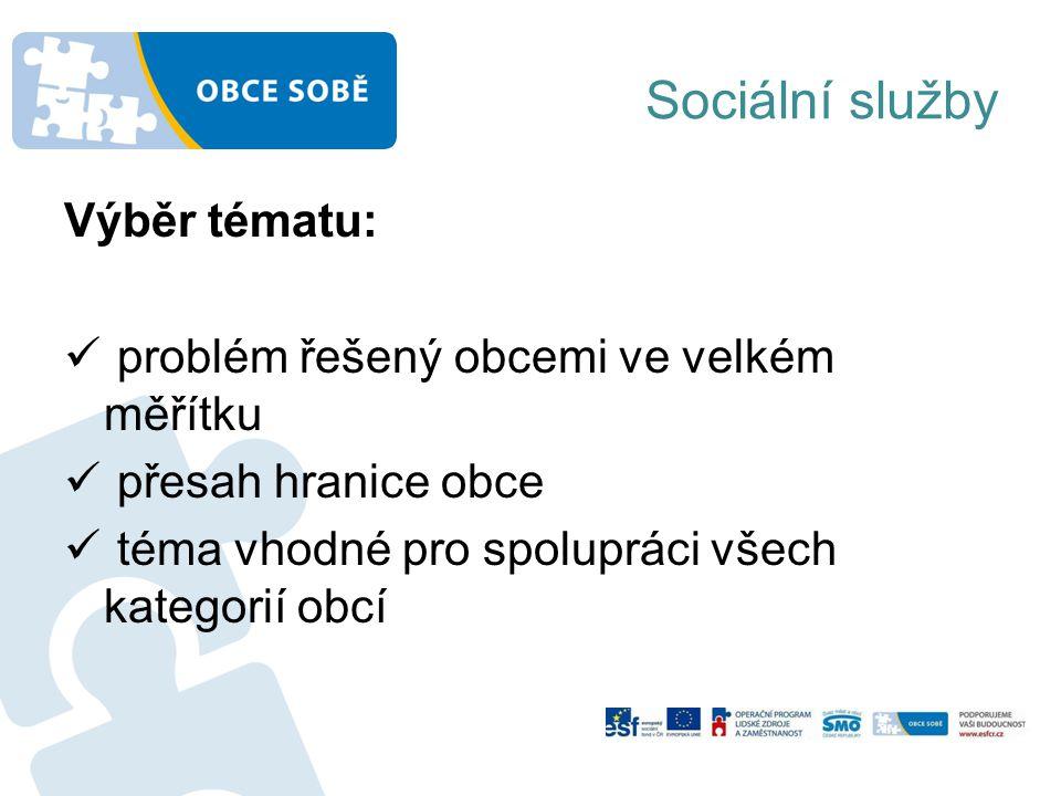 Sociální služby Výběr tématu: problém řešený obcemi ve velkém měřítku přesah hranice obce téma vhodné pro spolupráci všech kategorií obcí
