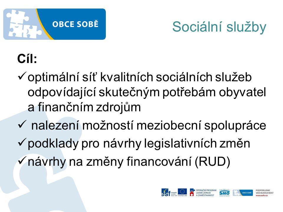 Sociální služby Cíl: optimální síť kvalitních sociálních služeb odpovídající skutečným potřebám obyvatel a finančním zdrojům nalezení možností meziobecní spolupráce podklady pro návrhy legislativních změn návrhy na změny financování (RUD)