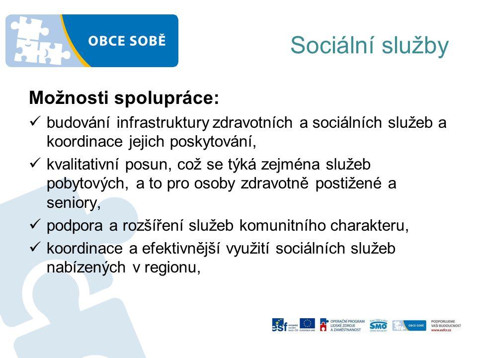 Sociální služby Možnosti spolupráce: budování infrastruktury zdravotních a sociálních služeb a koordinace jejich poskytování, kvalitativní posun, což se týká zejména služeb pobytových, a to pro osoby zdravotně postižené a seniory, podpora a rozšíření služeb komunitního charakteru, koordinace a efektivnější využití sociálních služeb nabízených v regionu,