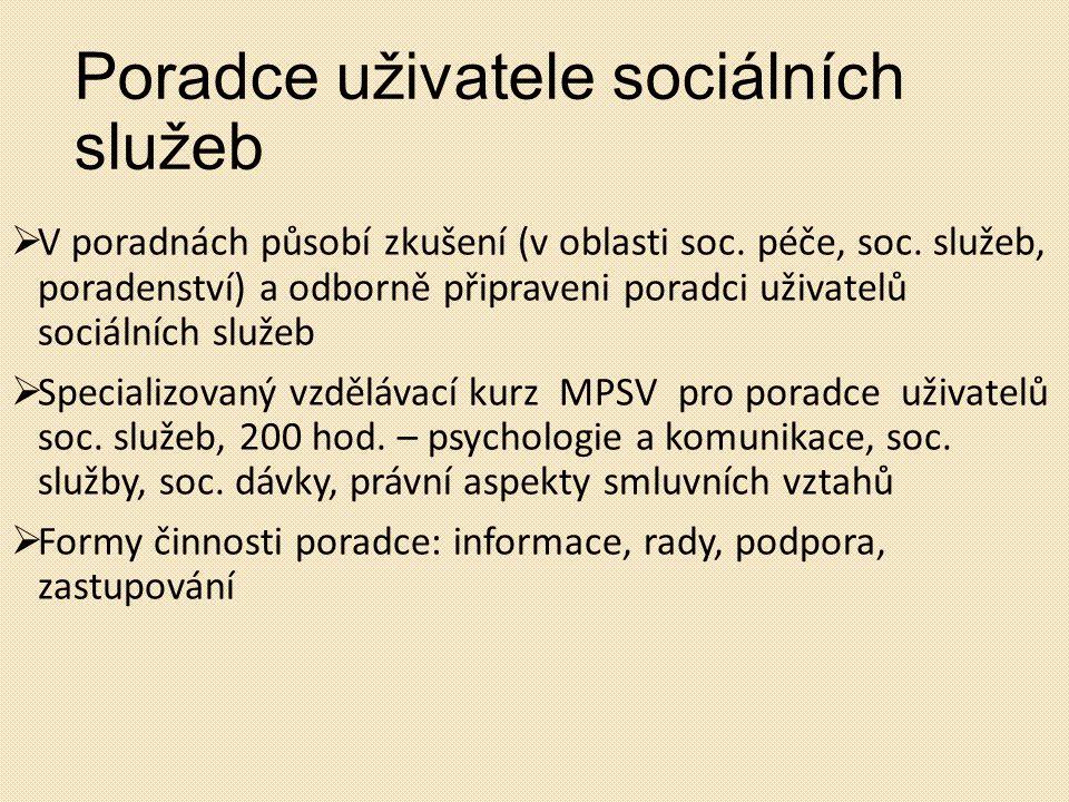 Poradce uživatele sociálních služeb  V poradnách působí zkušení (v oblasti soc. péče, soc. služeb, poradenství) a odborně připraveni poradci uživatel