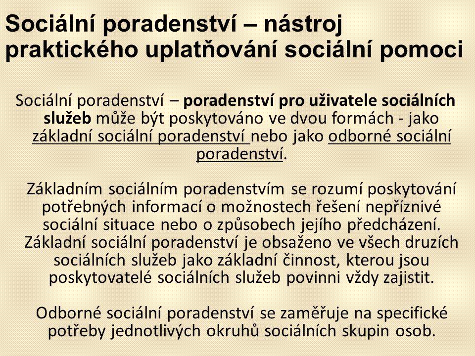 Sociální poradenství – nástroj praktického uplatňování sociální pomoci Sociální poradenství – poradenství pro uživatele sociálních služeb může být pos