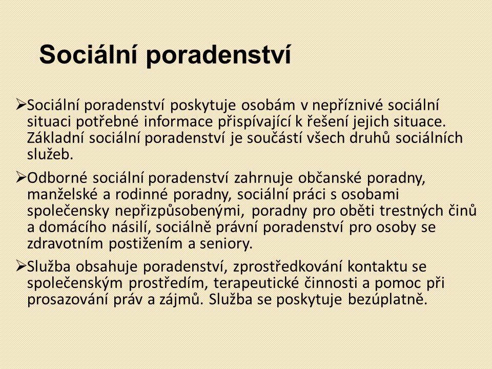 Sociální poradenství  Sociální poradenství poskytuje osobám v nepříznivé sociální situaci potřebné informace přispívající k řešení jejich situace. Zá