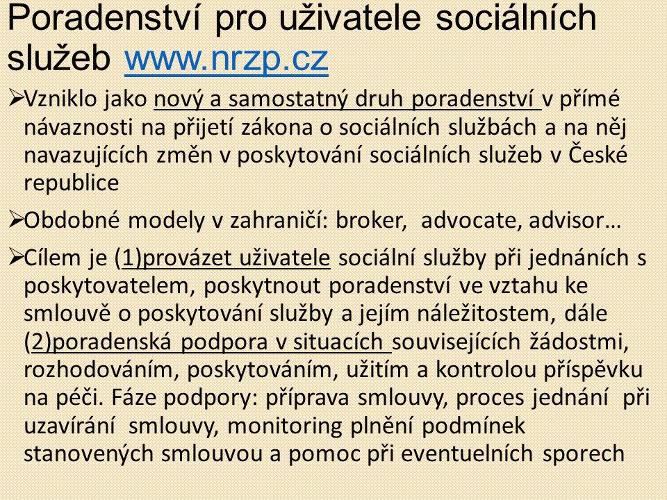 Poradenství pro uživatele sociálních služeb www.nrzp.czwww.nrzp.cz  Vzniklo jako nový a samostatný druh poradenství v přímé návaznosti na přijetí zák