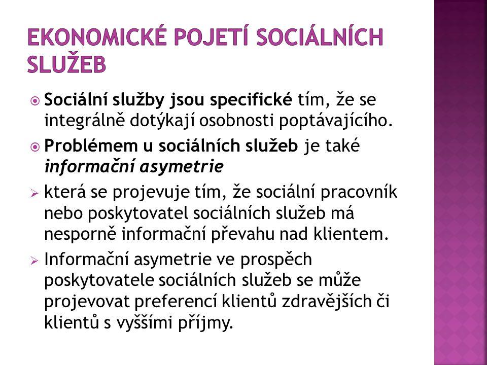 Sociální služby jsou specifické tím, že se integrálně dotýkají osobnosti poptávajícího.