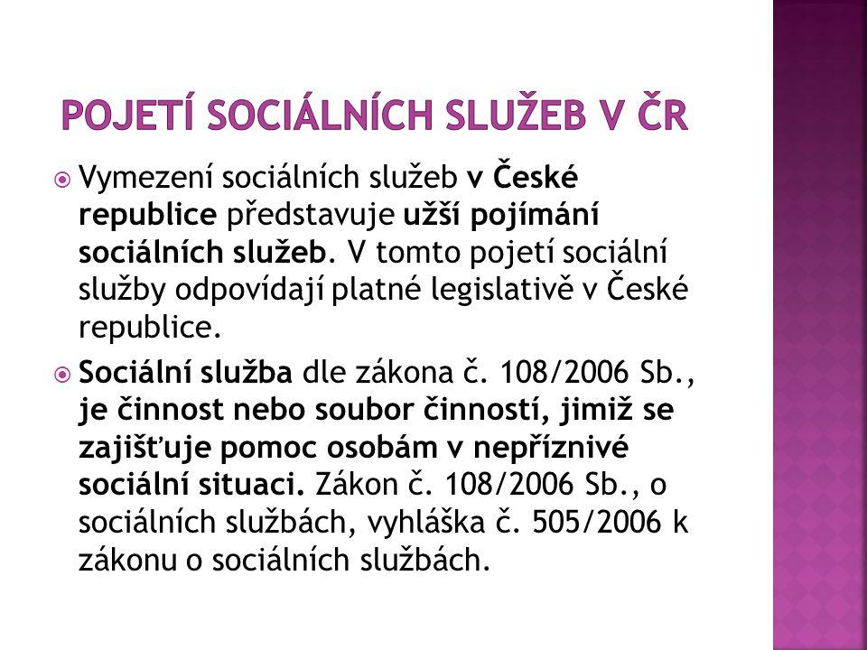  Vymezení sociálních služeb v České republice představuje užší pojímání sociálních služeb.