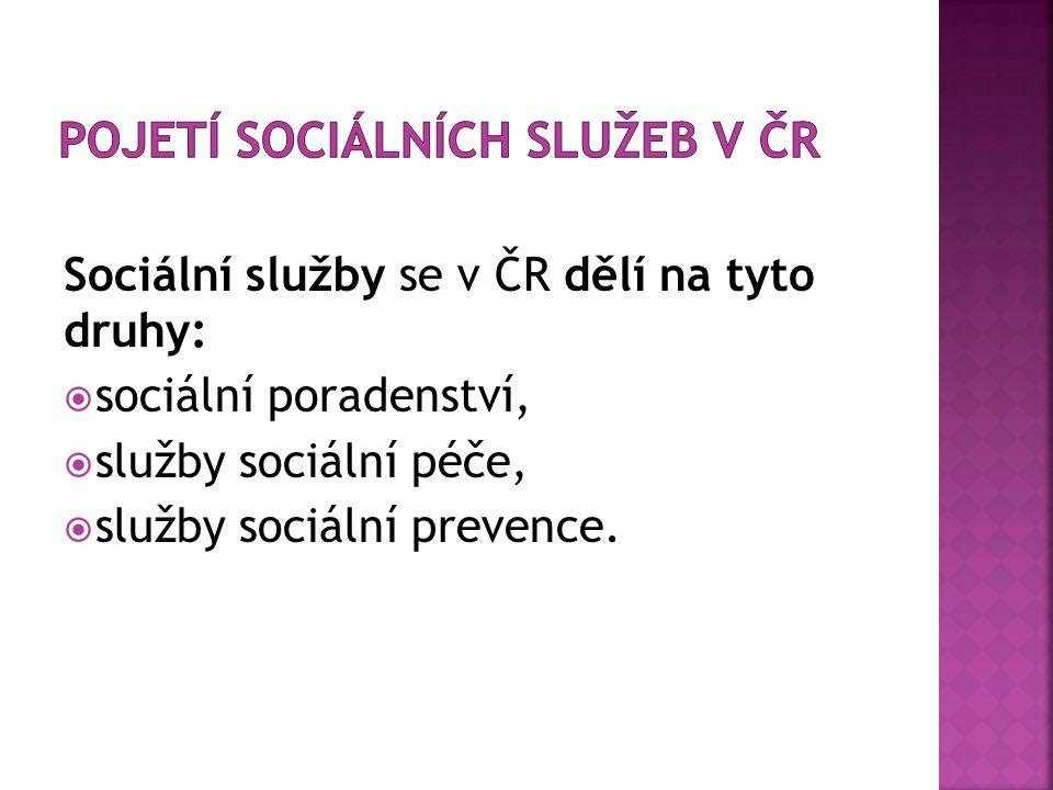 Sociální služby se v ČR dělí na tyto druhy:  sociální poradenství,  služby sociální péče,  služby sociální prevence.