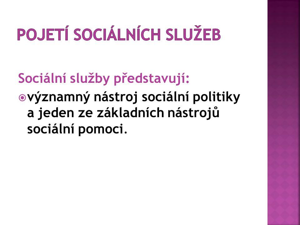 Sociální služby představují:  významný nástroj sociální politiky a jeden ze základních nástrojů sociální pomoci.