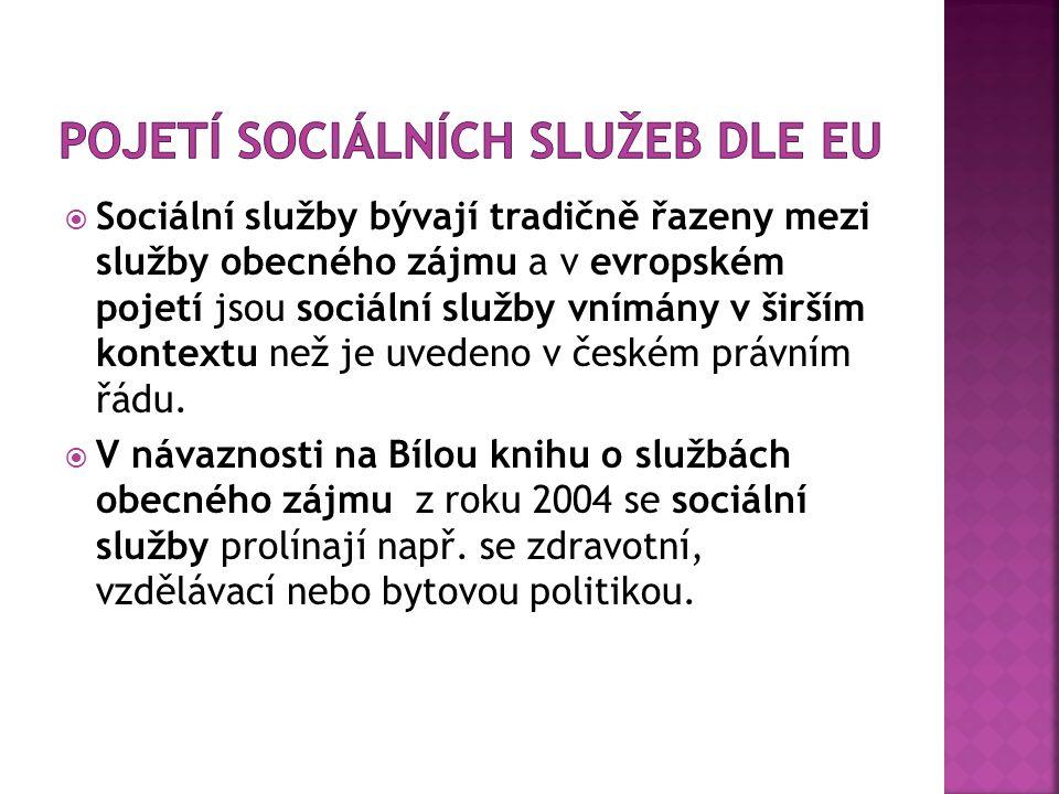  Sociální služby bývají tradičně řazeny mezi služby obecného zájmu a v evropském pojetí jsou sociální služby vnímány v širším kontextu než je uvedeno v českém právním řádu.