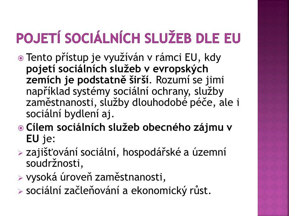  Tento přístup je využíván v rámci EU, kdy pojetí sociálních služeb v evropských zemích je podstatně širší.