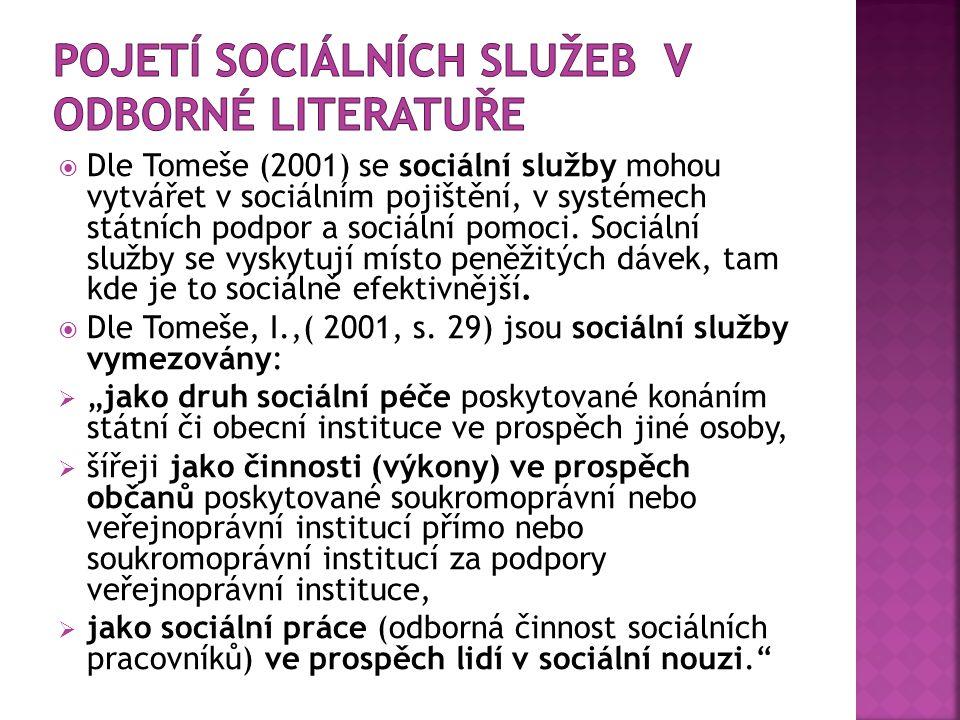  Dle Tomeše (2001) se sociální služby mohou vytvářet v sociálním pojištění, v systémech státních podpor a sociální pomoci.