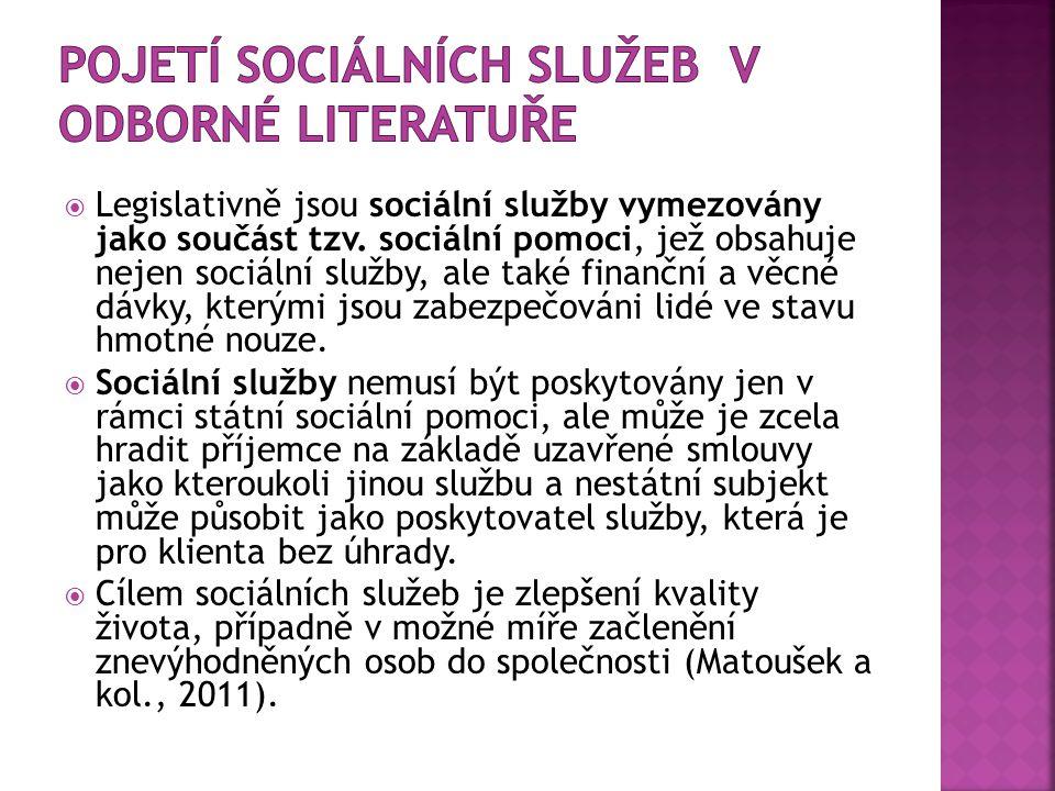  Legislativně jsou sociální služby vymezovány jako součást tzv.