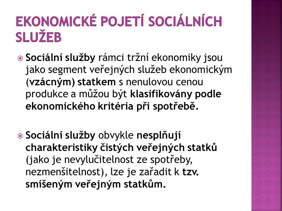  Sociální služby rámci tržní ekonomiky jsou jako segment veřejných služeb ekonomickým (vzácným) statkem s nenulovou cenou produkce a můžou být klasifikovány podle ekonomického kritéria při spotřebě.