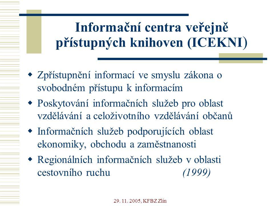 29. 11. 2005, KFBZ Zlín Informační centra veřejně přístupných knihoven (ICEKNI )  Zpřístupnění informací ve smyslu zákona o svobodném přístupu k info