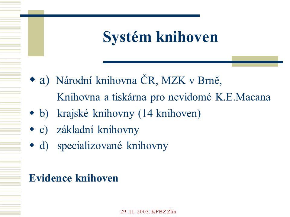 29. 11. 2005, KFBZ Zlín Systém knihoven  a) Národní knihovna ČR, MZK v Brně, Knihovna a tiskárna pro nevidomé K.E.Macana  b) krajské knihovny (14 kn