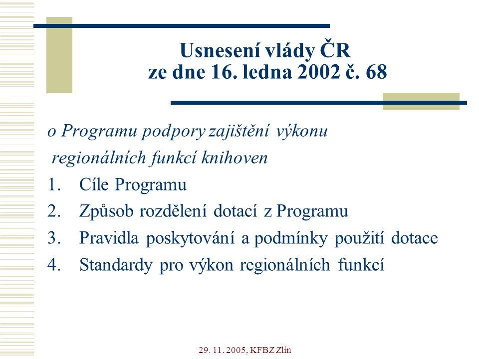 29. 11. 2005, KFBZ Zlín Usnesení vlády ČR ze dne 16.