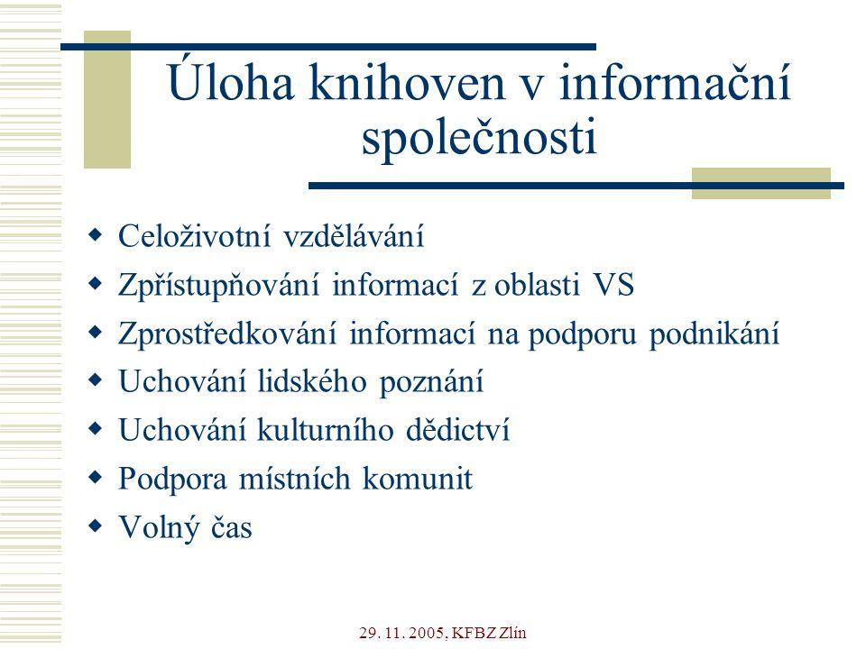 29. 11. 2005, KFBZ Zlín Úloha knihoven v informační společnosti  Celoživotní vzdělávání  Zpřístupňování informací z oblasti VS  Zprostředkování inf