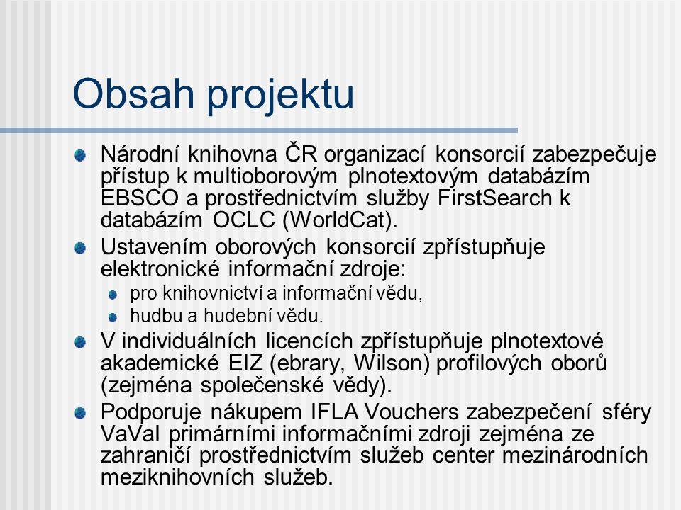 Obsah projektu Národní knihovna ČR organizací konsorcií zabezpečuje přístup k multioborovým plnotextovým databázím EBSCO a prostřednictvím služby FirstSearch k databázím OCLC (WorldCat).
