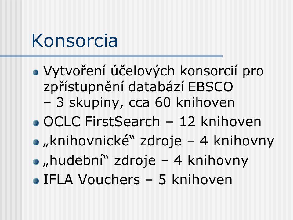 """Konsorcia Vytvoření účelových konsorcií pro zpřístupnění databází EBSCO – 3 skupiny, cca 60 knihoven OCLC FirstSearch – 12 knihoven """"knihovnické zdroje – 4 knihovny """"hudební zdroje – 4 knihovny IFLA Vouchers – 5 knihoven"""
