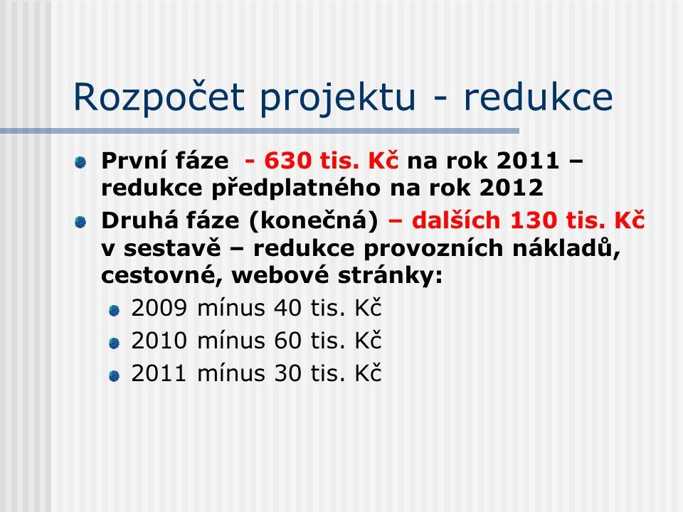 Rozpočet projektu - redukce První fáze - 630 tis. Kč na rok 2011 – redukce předplatného na rok 2012 Druhá fáze (konečná) – dalších 130 tis. Kč v sesta