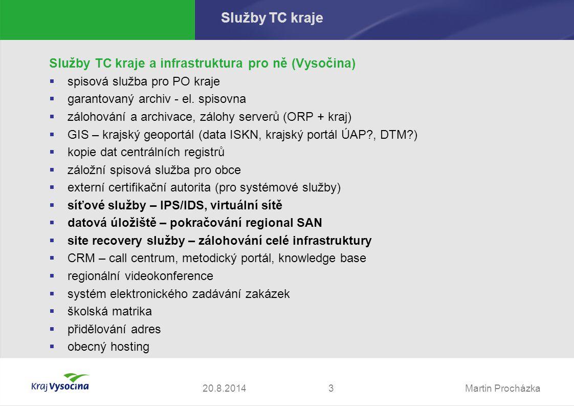 Martin Procházka420.8.2014 Úvod 1.Výzva č.8 2.Předpokládaná cena 28 mil.Kč 3.Hodnotící kriteria:  a) Celková cena dodávky (investice) 60 %  b) Cena za údržbu řešení po dobu projektu (5 let)30 %  c) Délka záruční doby v měsících 10 % 4.Nabídky podali pouze 2 společnosti  Comparex Technologie - Cisco, Hitachi, FalconStor, VMware, SUN, F5  Autocont Technologie - HP, IBM, FalconStor, VMware, Hitachi, F5