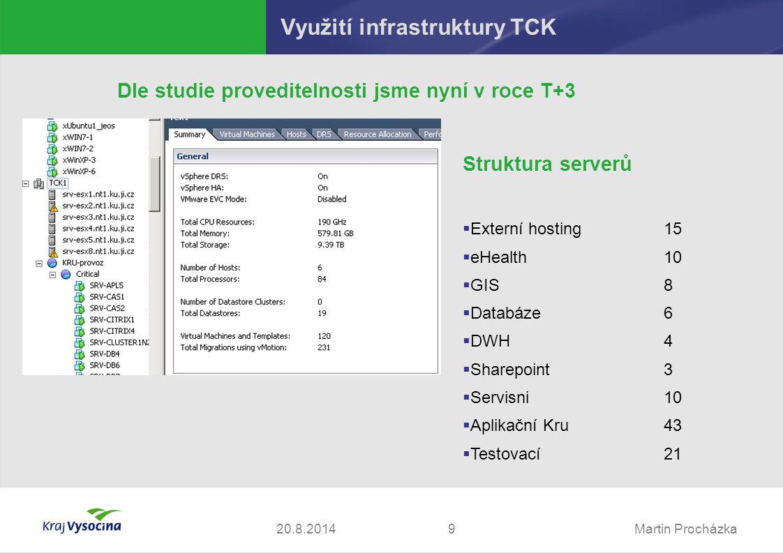 Martin Procházka1020.8.2014 Možné modely spolupráce TCK a TC ORP Způsoby hostování 1.Využití technologie TCK Síťově  Interní služby – extenze LAN  Externí služby – zřízení DMZ zón a přidělení veřejné IP z rozsahu TCK Serverově:  Serverový hosting – dedikované virtuální stroje  VMWare site recovery Storage:  Replika IPStor  iSCSI target/iniciator  FC target/iniciator  Přímé využití garantovaného úložiště (CIFS, SFTP)  NAS storage (NFS, CIFS)  Archivace na pásky 2.Instalace vlastní technologie do prostor TCK