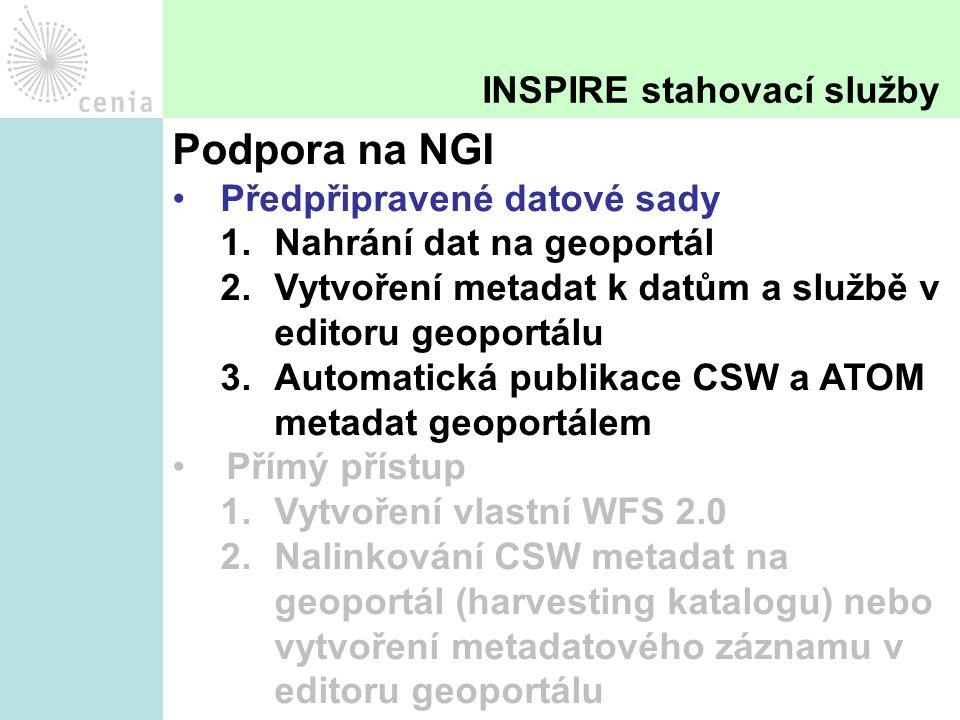 Podpora na NGI Předpřipravené datové sady 1.Nahrání dat na geoportál 2.Vytvoření metadat k datům a službě v editoru geoportálu 3.Automatická publikace CSW a ATOM metadat geoportálem Přímý přístup 1.Vytvoření vlastní WFS 2.0 2.Nalinkování CSW metadat na geoportál (harvesting katalogu) nebo vytvoření metadatového záznamu v editoru geoportálu INSPIRE stahovací služby