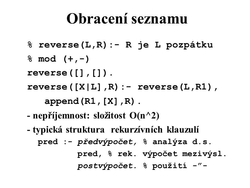 Obracení seznamu % reverse(L,R):- R je L pozpátku % mod (+,-) reverse([],[]).